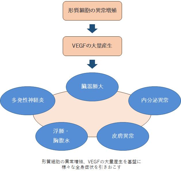図1 POEMS症候群の本態と症状の関係